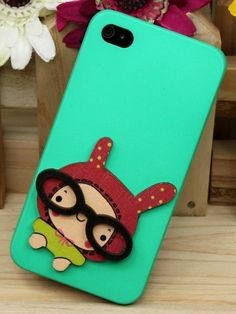 3D Cartoon Girl Pattern Protective Case For IPhone 4/4S (Green) - VeryShop.com