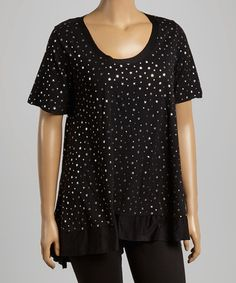 Another great find on #zulily! Black & Silver Star Tunic - Plus by CANARI #zulilyfinds