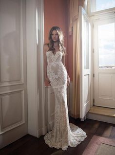 Berta 2016 Full Lace Backless Wedding Dresses Mermaid Sweetheart Neckline Sweep Train Pearls Sexy Open Back Bridal Gowns from ZeaL stylE.
