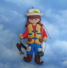 Girl Fisherman Rod Reel Fish Handcrafted Polymer Clay Milestone Personalized…