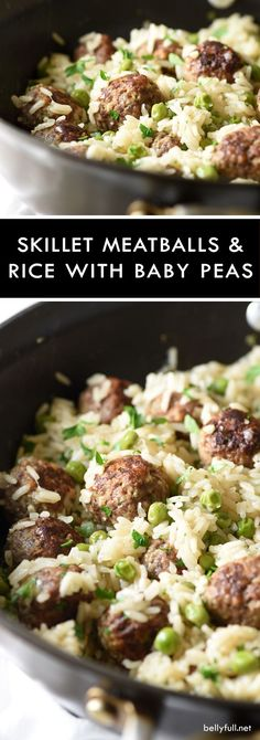 Healthy Food Inspiration: Recipe for a Meatball and Rice Skillet with Baby Peas - a delicious and easy weeknight meal all in one pot, featuring baked rice, meatballs, and sweet baby peas. Rice Recipes, Beef Recipes, Dinner Recipes, Cooking Recipes, Healthy Recipes, Recipes With Hamburger And Rice, Meals With Rice, One Pot Rice Meals, Healthy One Pot Meals