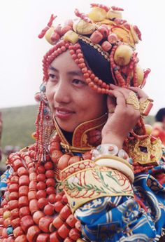 Elaborate Coral and Amber Headpiece. Tibet