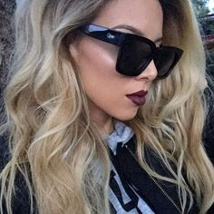 """"""" Quay sunnies from @whitefoxboutique """"Midnight Runner""""  @doseofcolors Mood liquid lipstick (Hot fire alert)"""""""