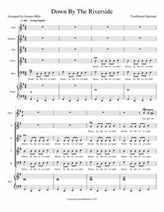 Down By The Riverside By Traditional Spiritual Call And Response, No Response, Digital Sheet Music, Guitar Chords, Musical Theatre, Choir, Singers, Spirituality