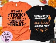 Couples Halloween Pregnancy Announcement Shirts, Halloween Baby Reveal, Fall Baby Reveal Shirt, Expecting Mom Shirt, Graphic Tees