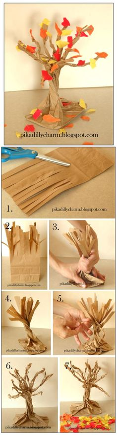 Make a Paper Bag Fall Tree... Activity for the kids...