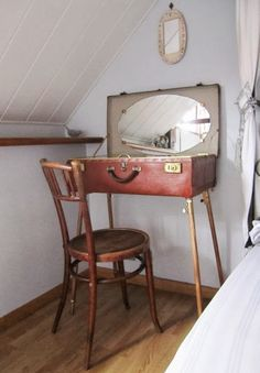This is a variation of the end table example above. A frame with tall legs, suitcase with a mirror glued inside, voila! Teen vanity/make up center with storage! I think this would be cute with a skirt around it too.