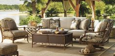 Exotic Tommy Bahama Outdoor Sofa, Accent Chairs and Cocktail Table