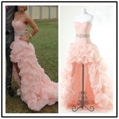 Pearl pink High Low Prom Dress