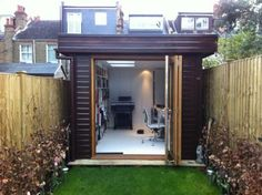 x Contemporary Garden Office, with a Mono Roof and Bi-Fold Doors Garden Office Shed, Backyard Office, Outdoor Office, Small Garden Office Pod, Small Garden Cabin, Small Office, Timber Garage, Garden Pods, Office Pods