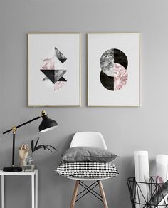 Posters with a graphic motif, stylish picture collage.