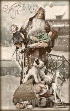 French Christmas, Le Pere Noel with Lenci Dolls - French Postcard - Photo… Vintage Christmas Photos, French Christmas, Noel Christmas, Victorian Christmas, Father Christmas, Pink Christmas, Christmas Pictures, Christmas Mantles, Xmas