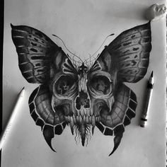 Skull Butterfly Tattoo, Butterfly Tattoos For Women, Skull Tattoo Design, Tattoo Design Drawings, Art Drawings Sketches, Tattoo Sketches, Cartoon Drawings, Butterfly Sketch, Moth Tattoo
