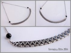 Woven wire wrapped choker/necklace in sterling silver and black onix beads  Inspired by a tutorial from Lisa Barth http://www.etsy.com/pt/listing/118984078/woven-bezel-with-beaded-back-tutorial?ref=shop_home_active_5