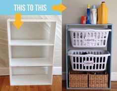 How Turn An Empty Bookshelf Into A Laundry Basket Station DIY – Laundry Room İdeas 2020 Laundry Basket Holder, Laundry Basket Dresser, Laundry Basket Storage, Laundry Room Organization, Laundry Room Design, Organization Ideas, Design Room, Organizing Tips, Stackable Laundry Baskets