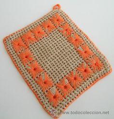 Agarrador cocina ganchillo/crochet. Tostado y Naranja (neón) --NUEVOS--  16cm x 18,5cm