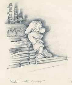 Snow White and the Seven Dwarfs sketches shown is Grumpy Disney Sketches, Disney Drawings, Cartoon Drawings, Old Disney, Disney Art, Snow White 7 Dwarfs, Disney Concept Art, Character Design Animation, Disney Tattoos