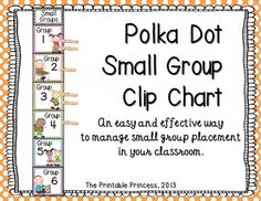 Reading, Math, or Small Group Clip Chart {Polka Dot} Kindergarten Classroom Management, Classroom Jobs, First Grade Classroom, Music Classroom, Classroom Organization, School Fun, School Ideas, Polka Dot Classroom, Clip Charts