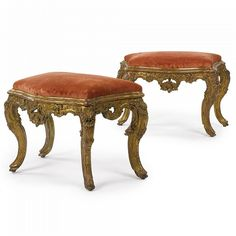 A PAIR OF ITALIAN ROCOCO CARVED GILTWOOD STOOLS CIRCA 1755
