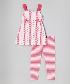 This Pink Floral Tunic & Stripe Leggings - Infant, Toddler & Girls by A.B.S. by Allen Schwartz is perfect! #zulilyfinds