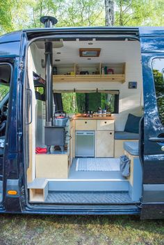 van aménagé Walking into Fiver, is like walking into a beautiful wooden cabin, that just happens to be hidden away inside a Mercedes Benz Sprinter camper van! Camper Life, Truck Camper, Camper Trailers, Rv Campers, Camper Stove, Travel Trailers, Camper Vans Uk, Diy Van Camper, Camper Van Kitchen