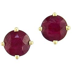 Effy Ruby and 14K Yellow Gold Stud Earrings (18.035 RUB) ❤ liked on Polyvore featuring jewelry, earrings, ruby gold, 14 karat gold earrings, 14k earrings, stud earrings, gold earrings and 14k gold jewelry