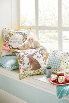 Here's an instant update to help you welcome Easter. Just like bunnies, Pier 1 pillows are adorably huggable. Plus, you don't have to worry about them hopping away. Come explore our fresh designs, featuring hand-beaded eggs, hand-embroidered flowers and nature-inspired colors.