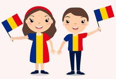 Smiling chilldren, boy and girl, holding a Romania flag isolated on white background. Holiday illustration to the Day of the country, Independence Day, Flag Day.