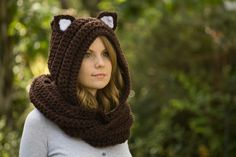 Cat Scarf Brown Scoodie with Cat Ears Hooded Scarf by WellRavelled
