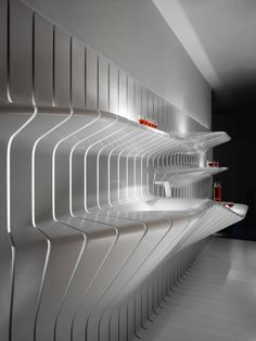 Corian. Amanda Levete Architects; Corian as wall and furniture treatments.