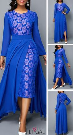 USD33.95 Royal Blue Chiffon Overlay Patterned Lace Panel Dress #liligal #dresses
