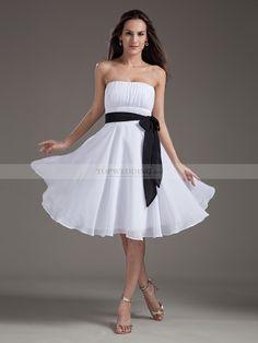 Strapless Chiffon Knee Length A Line Bridesmaid Dress with Bow Sash