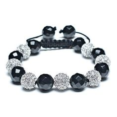 Valentines Day Gifts Shamballa Bracelet Unisex 15 White Diamond Crystal Balls and Black Onyx Faceted Beads 10mm  Sale: $22.45