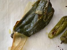 Peeling skin of roasted Poblano pepper. Either wear gloves or thoroughly spray hands with cooking spray. 😀