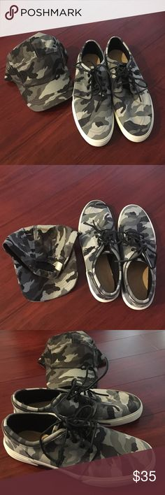 Polo grey camo shoes/camo hat combo Mens Polo grey camo shoes wFREE gray hat by 2Men (Note: Hat is included due to no insoles in shoes, buyer must provide their own) Polo by Ralph Lauren Shoes