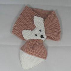 Écharpe renard vieux rose taille 2-5 ans en laine fait main