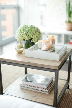 Coffee table & hydrangeas