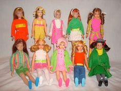 Skipper dolls and a Scooter doll wearing original vintage skipper fashions