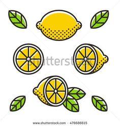 Retro style lemons, line icon set. Whole lemon, slice and leaves. Modern geometric flat vector illustration.