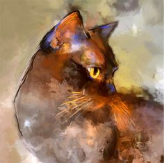 Beautiful Cat found on: ARTFINDER: Elli by Denise Laurent - Elli, a brown Burmese cat. I love the way she's holding her head, the look in her eye and the colours in her coat. --bjb