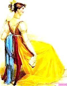 1813 September.  Yellow Evening Dress, English. Red sash trim trailing at the back, blue shawl, and evening headdress.    Fashion Plate via John Belle's La Belle Assemblee Magazine, London.  suzilove.com