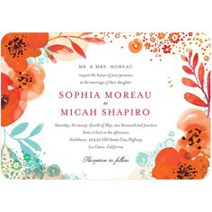 Lively Bouquet - Signature White Textured Wedding Invitations - Petite Alma - Bright Red - Red : Front