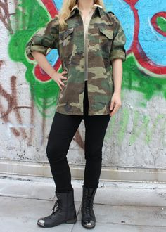 Vintage Woodland Camouflage Army Fatigue Jacket by FlamingoMaude, $39.00