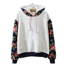 Korean students joining together color flowers hooded fleece from Asian Cute…