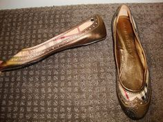Burberry Prorsum Plaid & Metallic Gold Leather Ballet Flats 39.5 #Burberry #BalletFlats #any