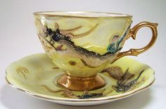 Dragonware Dragon Ware Cup Saucer Set Shafford Japan Yellow~~Makes Your Test Taste Better~~ Cup And Saucer Set, Tea Cup Saucer, Tea Cups, Asian Tea Sets, Teapots And Cups, Turkish Coffee, My Cup Of Tea, Tea Bowls, Chocolate Pots
