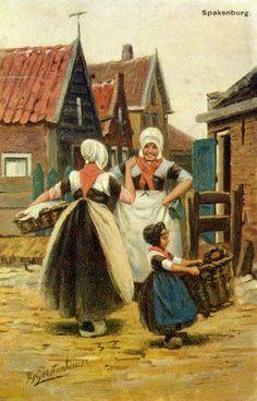 Afbeelding van twee vrouwen en een meisje in klederdracht te Spakenburg, met op de achtergrond enkele huizen. 1890-1910 JG Gerstenhauer #Utrecht #Spakenburg