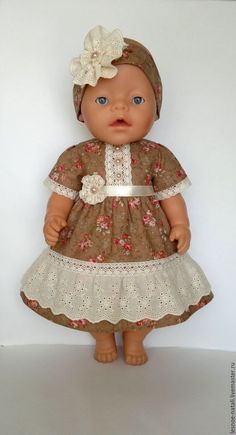 Одежда для кукол ручной работы. Ярмарка Мастеров - ручная работа. Купить  Платье  Винтажное  для беби бон. Handmade. Коричневый 5b94a44387a