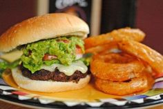 """Chili Cheddar Burgers with Grilled Guac & Spicy Onion Rings! If you don't have \""""Dad's\"""" Chili Mix, your favorite chili spice packet will work!"""