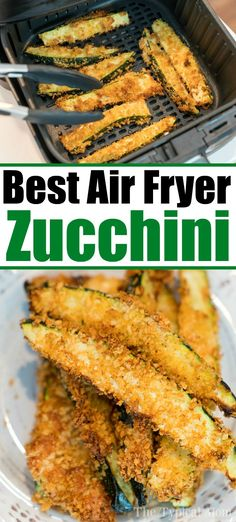 Air fryer zucchini fries or spears are a great side dish or a healthy low carb snack your whole family will love! It's our favorite vegetable air fryer recipe fryer recipes healthy vegetables Crispy Low Carb Air Fryer Zucchini Fries! Air Fryer Recipes Snacks, Air Fryer Recipes Low Carb, Air Frier Recipes, Air Fryer Recipes Breakfast, Air Fryer Dinner Recipes, Meat Recipes, Seafood Recipes, Sausage Recipes, Chicken Recipes